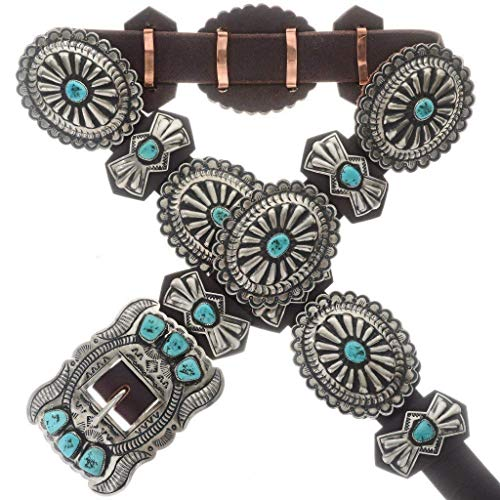 Turquoise Silver Navajo Concho Belt Sleeping Beauty Vintage Style 1212
