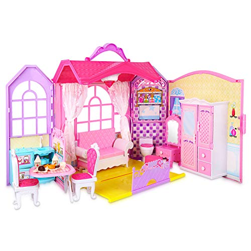 Super Joy Doll House Folding Dollhouse with Furniture, Including 70+ Accessories to Create up to 8 Scenes, Portable Doll's House Playset with Latch & Carrying Handle