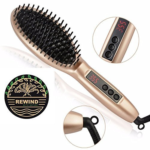 Price comparison product image Hair Straightener Brush with built in premium anion generator,lighter and smaller, good for using at home or travel with 2 in 1 function heat Technology and Auto Temperature Lock, Anti-Scald Design