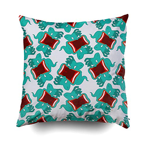 GROOTEY Bed Pillow Covers, Square Pillow Covers with Zip Couch Sofa Décor Ghost Pattern Terrible Howling Wraith Background Monster Scares Ornament Spook Open Mouth Scre 18X18 Throw Cushion]()