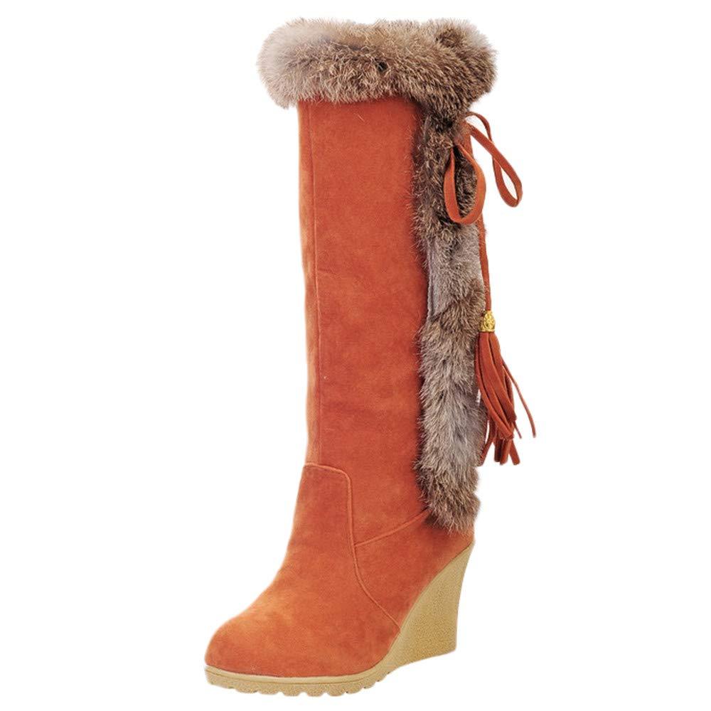 LuckyGirls Cuñ as Botas para Mujer Flecos Velló n Botines Moda Botas Casual Calzado Zapatillas Zapatos Snow Boots 8cm