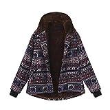 turnstile Womens Winter Warm Outwear Jacket Button Vintage Ethnic Print Fleece Thick Hooded Coats Overcoat DWaistcoat useedik