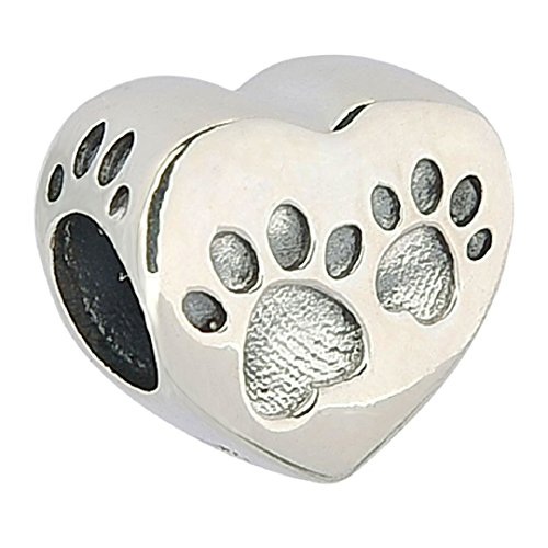 PHOCKSIN Dog Paw on The Heart Bead Charms 925 Sterling Silver Animal for Snake Chain Bracelet