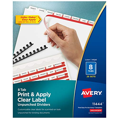 Avery 8-Tab Unpunched Binder Dividers, Easy Print & Apply Clear Label Strip, Index Maker, White Tabs, 25 Sets - Tab Pack 8