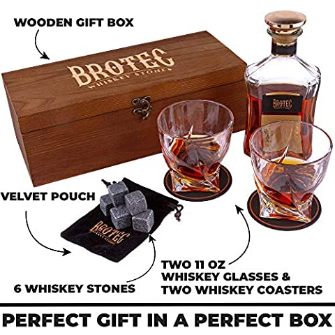 Whiskey Glass Gift Set of 2 – Whisky Rocks Chilling Stones & 2 Bourbon Glasses – Perfect Gifts For Men – Large 10oz Premium Lead-Free Crystal Whiskey Glass And Stone Set – Glassware in Wooden Gift Box