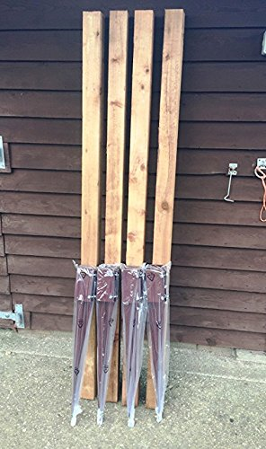 "4 x 100mm (4"") Timber Fence Post Grip Like Metpost & 4 x wooded 100x100 2.4 high Treated posts 4wire"