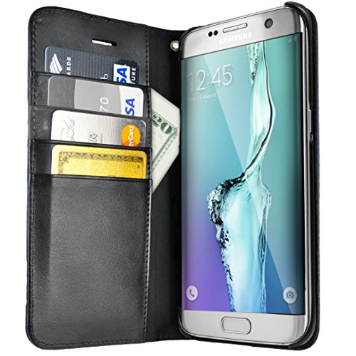 Silk Galaxy S7 Edge Wallet Case - Folio Wallet Case for Galaxy S7 Edge- Protective Portfolio Cover with Foldable Kickstand (Black Onyx) - Edge Portfolio