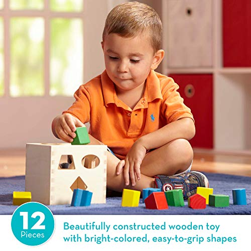 Melissa & Doug Shape Sorting Cube Classic Wooden Toy (Developmental Toy, Easy-to-Grip Shapes, Sturdy Wooden Construction, 12 Pieces, Great Gift for Girls and Boys - Best for 2, 3, and 4 Year Olds)