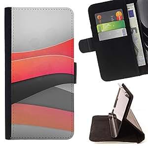 For Samsung ALPHA G850,S-type Olas mínimas de luz- Dibujo PU billetera de cuero Funda Case Caso de la piel de la bolsa protectora