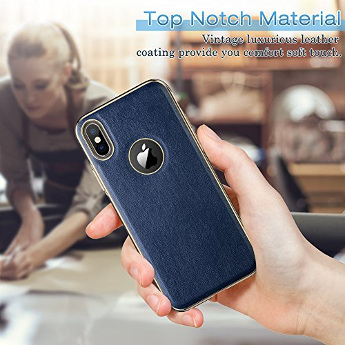 iPhone X Case, LOHASIC [Premium Leather] Slim & Thin Soft Flexible Body Luxury [Gold Electroplated] Bumper Anti-Slip Grip Scratch Resistant Protective Cover Cases for Apple iPhone X 10 - [Navy Blue] Photo #3