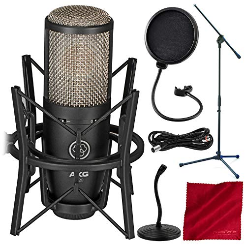 AKG Project Studio P220 Large-Diaphragm Cardioid Condenser Microphone - Basic Accessory Bundle With Mic Stands & More
