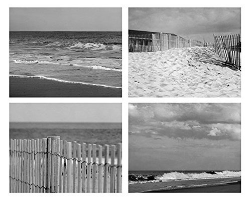 Ocean beach decor black and white photography set of 4 coastal art prints