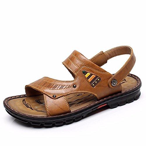 Das neue Freizeit Echtleder Sandalen Männer Sandalen Strand Schuh Trend Atmungsaktiv ,Gelb,US=7.5,UK=7,EU=40 2/3,CN=41
