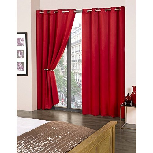 Plain Eyelet Top Ring Top Luxury Thermal Supersoft Blackout Curtains Poppy Red 45 x 72 (114 cm x 183 cm) by CALI