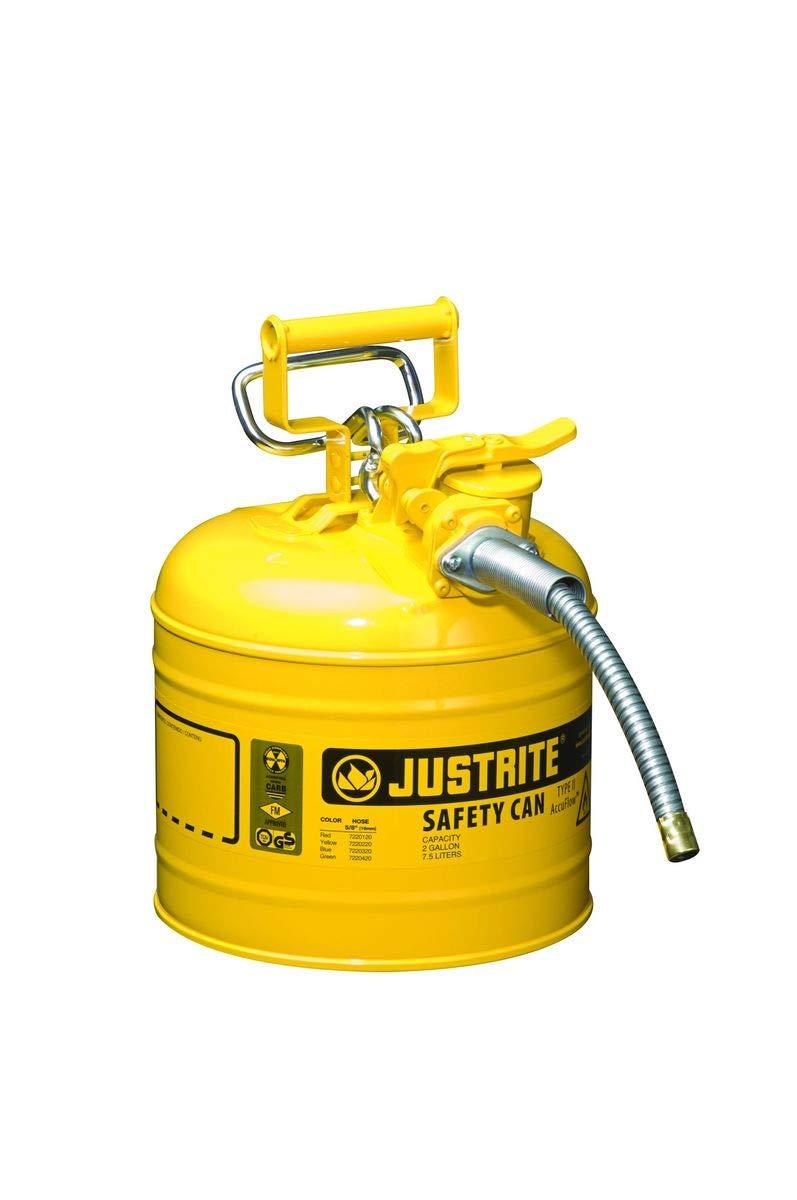 Justrite 7220220 Type 2 Diesel Can, 5/8in Hose, 2 Gal, Yellow