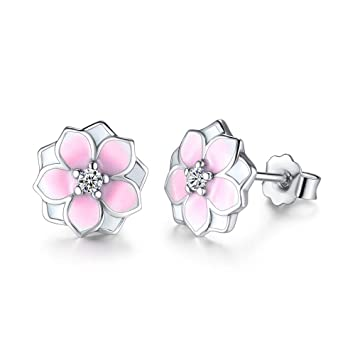 dc33775dd Solid 925 Sterling Silver Magnolia Bloom Stud Earrings Pale Cerise Enamel &  Pink CZ Flowers Earring
