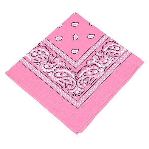 BOOLAVARD 1s, 6s, 9s or 12 Pack Cowboy Bandanas with Original Paisley Pattern (Pink)