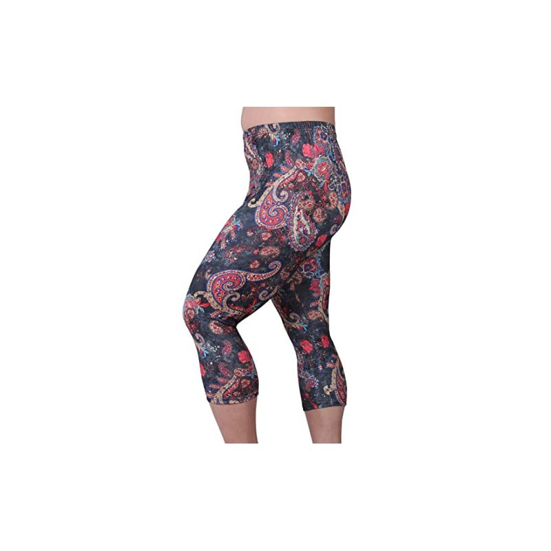 3c8707e805e ZERDOCEAN Women s Plus Size Lightweight Printed Capri Leggings for Summer