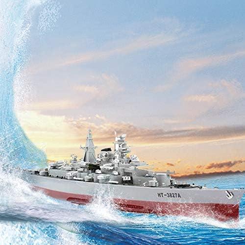 JZH-Light RC Boat 6 KM/H 72Cm Control Remoto Barco Warship Modelo Electrónico Militar para Piscina Y Lagos Barco Militar 1: 360 HT-3827 como Regalo para Niños Y Adultos Juguete De Juguete