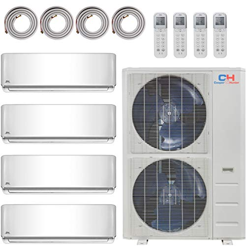 COOPER AND HUNTER 4 Zone Mini Split - 9000 + 9000 + 12000 + 18000 - Ductless Air Conditioner - Pre-Charged Quad Zone Mini Split - Four 25' Linesets - Premium Quality - USA Parts & Support