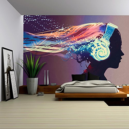 wall26 - Woman with Magic Glowing Headphones on Dark Background,Illustration Painting - Removable Wall Mural | Self-adhesive Large Wallpaper - 66x96 - Designs Mural