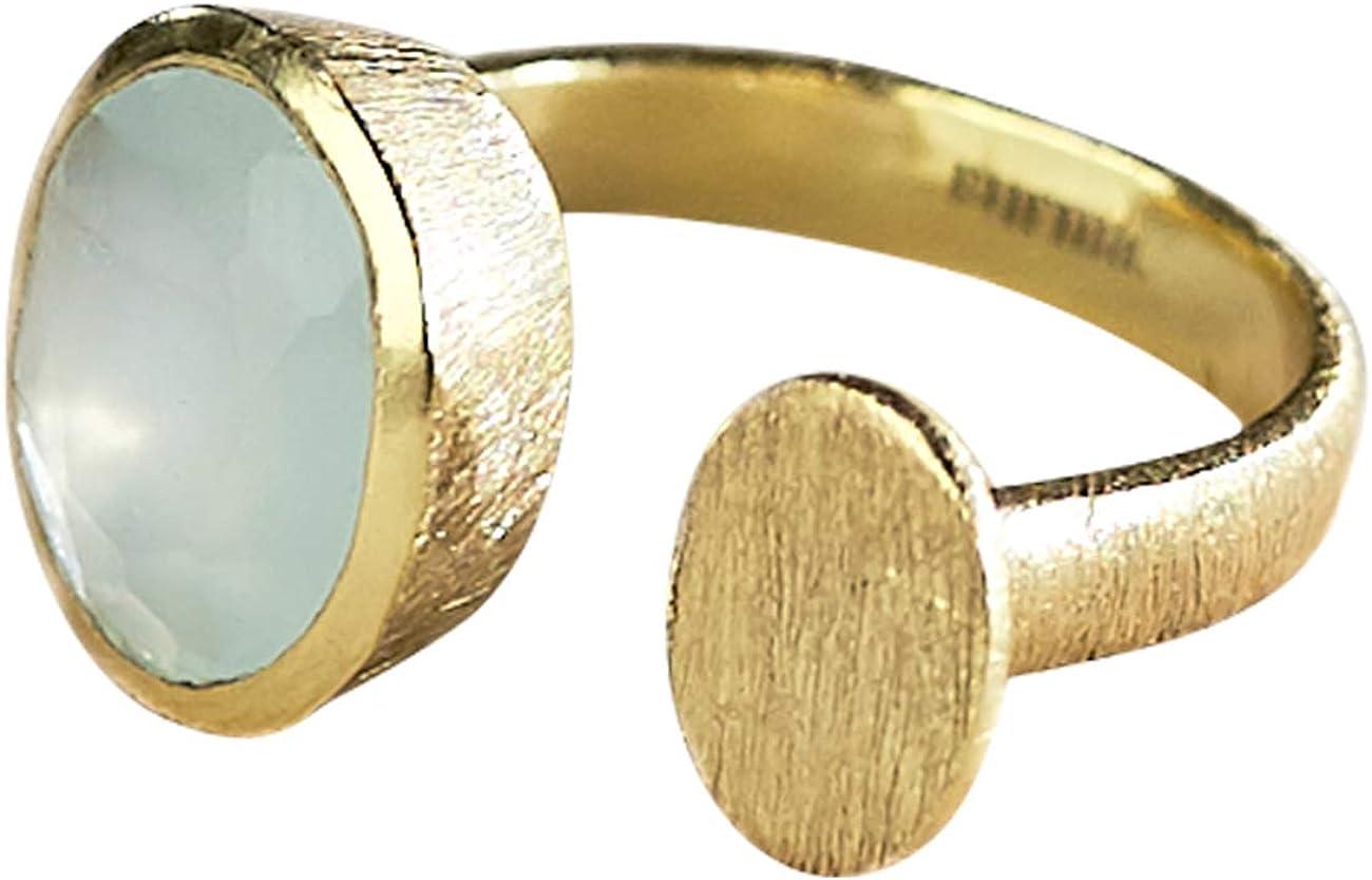 Vurmashop Anillo Piedra Aguamarina en Oro 18k para Mujer - Anillo Gema Semipreciosa Natural Aqua Calcedonia