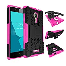 Qiaogle Phone Case - Shock Proof TPU + PC Hybrid Armor Stents Case Cover for Alcatel One Touch Flash 2 (5.0 inch) - HH16 / Black & Rose