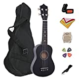 "21"" Ukulele Basswood Body and Basswood Fingerboard 4 Nylon Strings Musical Instrument for Beginners with a Bag, Tuner, Pick, String, Wiper, Strap (Black)"