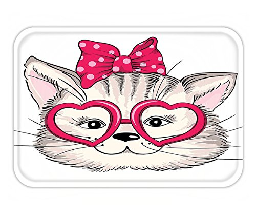 Joy Carpets Ribbons (Minicoso Doormat Cat Fashion Girl Kitten with Heart Shaped Glasses and Ribbon Teenager Sexy Illustration Pearl Pink)