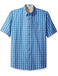 Authentics Men's Short Sleeve Plaid Woven Shirt