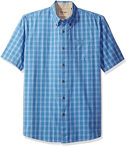 Button Down Plaid Sport Shirt - Wrangler Authentics Men's Short Sleeve Plaid Woven Shirt, Rivera, 2XL