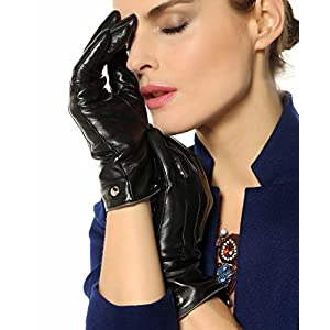 Elma Womens Touchscreen Texting Winter Driving Nappa Leather Gloves Pure Cashmere Warm Lining, Black, 7.5