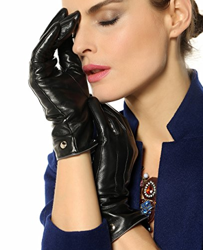 Elma Women's Touch Screen Italian Nappa Leather Winter Texting Gloves Pure Cashmere Warm Lining (8, Black)