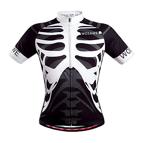 WOSAWE Mens Breathable Cycling Jersey (Skeleton, XL) ()