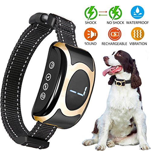 Fettish Bark Collar Dog Rechargeable & Rainproof No Bark Training Collar with Beep/Vibration/Shock Modes Anti-Barking Collar Stop Barking Control Device for Small Medium Large Dogs by Fettish