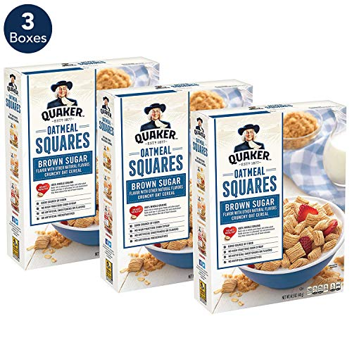 - Quaker Oatmeal Squares Breakfast Cereal, Original Brown Sugar, 14.5oz Boxes (Pack of 3)