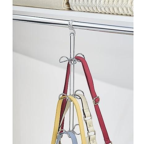 InterDesign Perchero para Carteras de Mano, Color Cromo y Claro, Plata