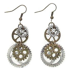 Hi-Unique UINKE Vintage Bronze Steampunk Cogwheel Wristwatch Gear Earrings Goth Punk Dangle Earrings Jewerly