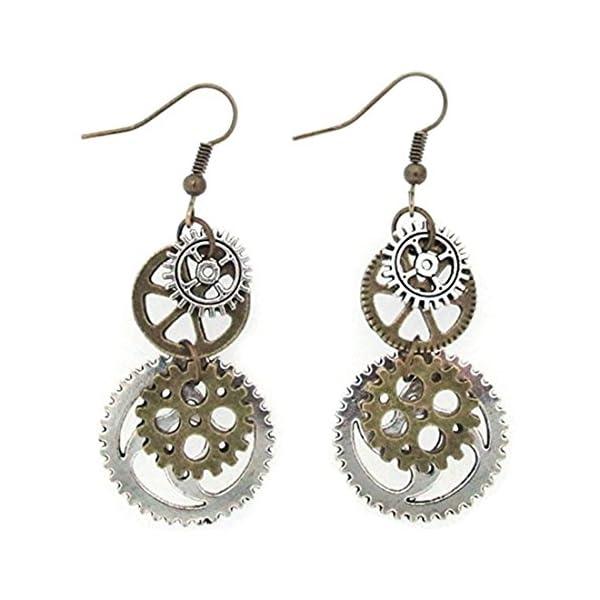 Hi-Unique UINKE Vintage Bronze Steampunk Cogwheel Wristwatch Gear Earrings Goth Punk Dangle Earrings Jewerly 3