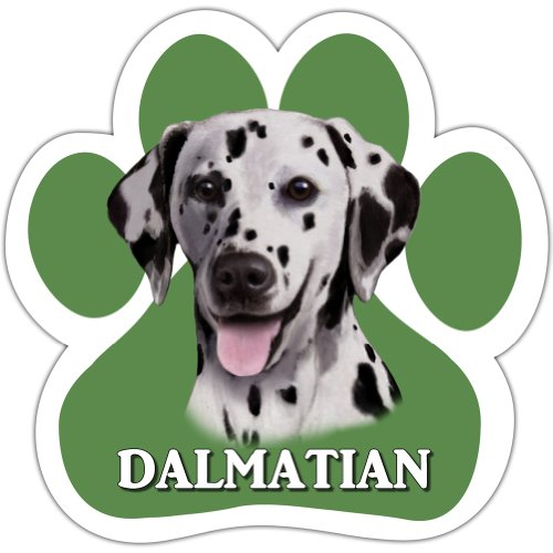 Dalmatian Car Magnet With Unique Paw Shaped Design Measures 5.2 by 5.2 Inches Covered In UV Gloss For Weather Protection