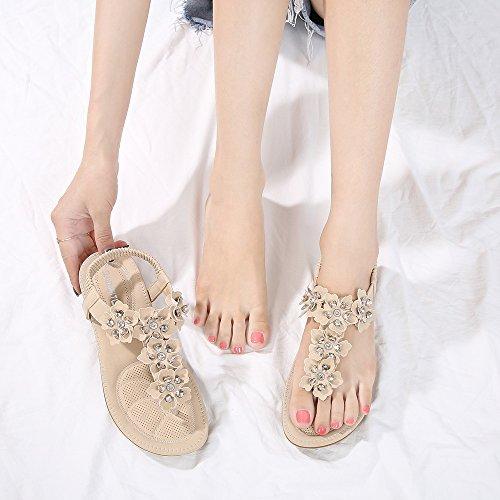 Flops Sandal Apricot Women Elastic Thong Strap Beach Back Sandals Bohemian Flip Wollanlily T tg7qCxtvw