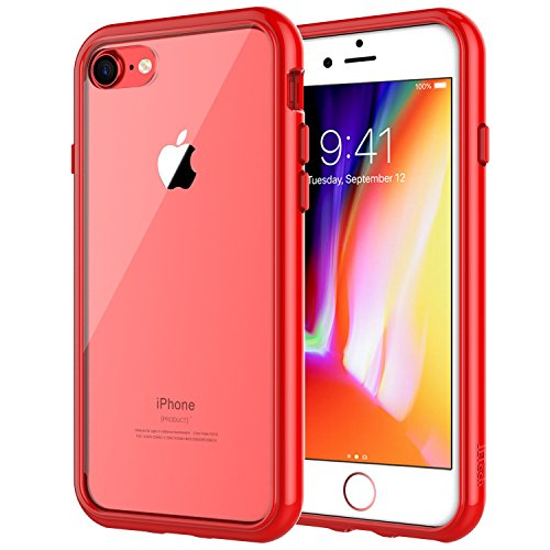 JETech Case for Apple iPhone 8 and iPhone 7, 4.7-Inch, Shock-Absorption Bumper Cover, Anti-Scratch Clear Back (Red)