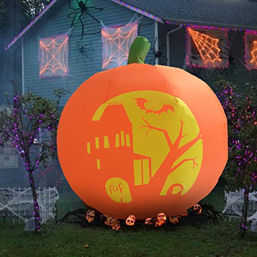 Kemper King 4 Foot Halloween Inflatable Air Blown Pumpkin Lighted for Home Yard Garden Indoor and Outdoor Decoration -