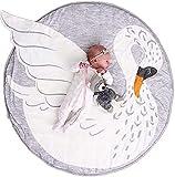 Abreeze Play Pad Swan Baby Round Rug Crawling Mat