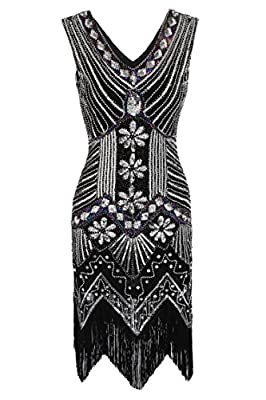 Hindom Women 1920s Beaded Sequined Deco Gatsby Dress Vintage Deep V-neck Dress (4Colors,S-XXXL)