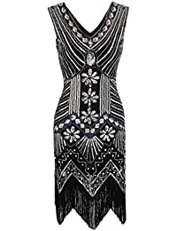 Womens Flapper Dresses Vintage 1920s V Neck Beaded Fringed Lace Tassels Hem Flapper Great Gatsby Dress