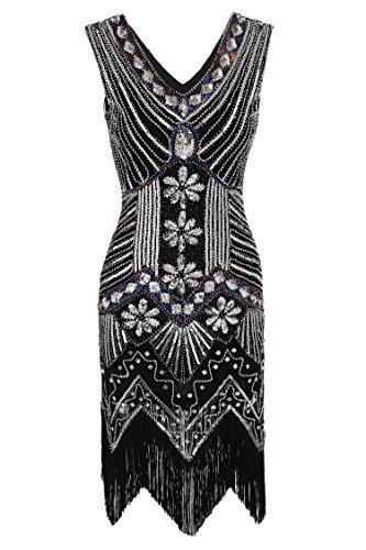 Verschönert Kleid Diamant Schwarz3 1920er AIMADO Damen Gatsby Flapper Pailletten xqwAIxap0X