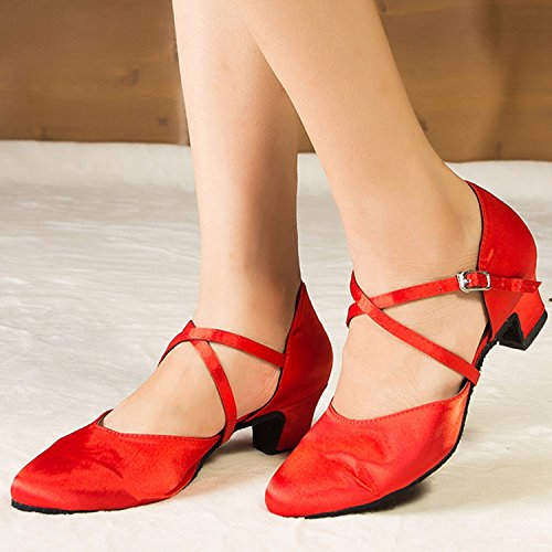 Ladies Satin Round L116 Miyoopark Red Shoes Latin Wedding Low MY 5cm Dance Pumps Heel Heel Toe axqxdRX