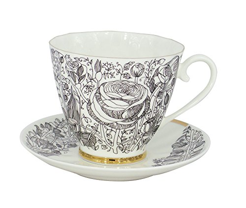 Lomonosov Porcelain Bone China Tea Set 6.8 oz/200 ml Black Summer 2pc