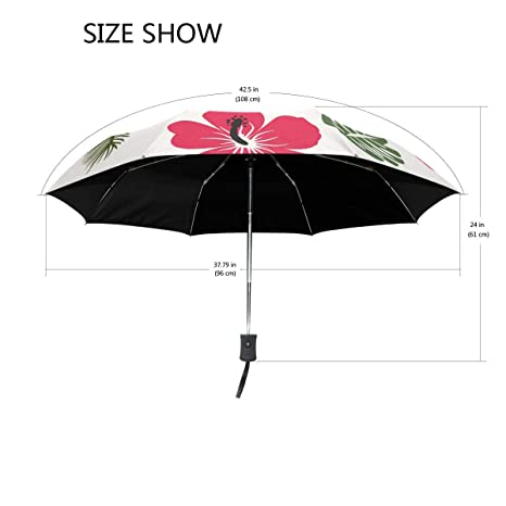 Tropical Leave Shower Curtain Flowers fashion print cute Windproof automatic tri-fold umbrella sun UV protection Sun umbrella